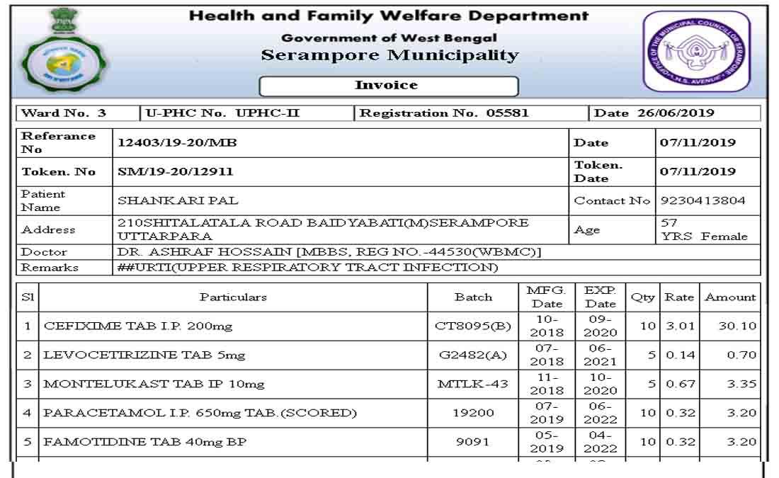 Patient Medicine Invoice